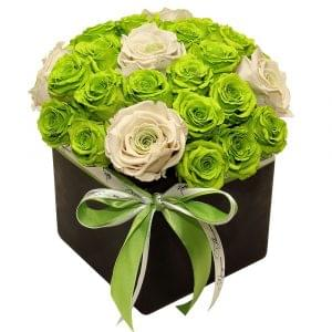 green roses arrangement, beautiful roses arrangement, custom forever roses order online,